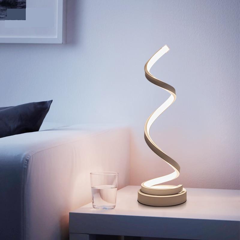 Creative Design Spirale Moderne Table Lumineuse Acrylique Lampes De