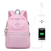 Fashion Casual Waterproof USB Bagpack Women High Schoolbag Student Backpacks for Teenagers Girls Rucksack