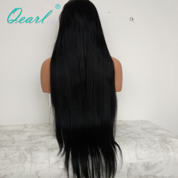 #1 Jet Black Silky Straight Full Lace Wigs Human Hair with Baby Hair 130% Remy Hair Pre Plucked Middle Part Indian hair Qearl