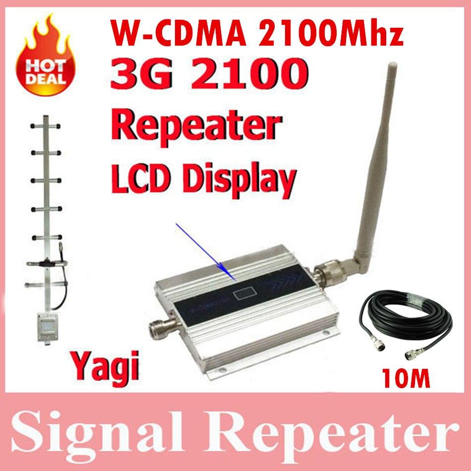 Offre spéciale répéteur WCDMA 3G avec écran LCD, puissant amplificateur de signal mobile 2100 mhz avec câble yagi + 10 M et antenne de plafond