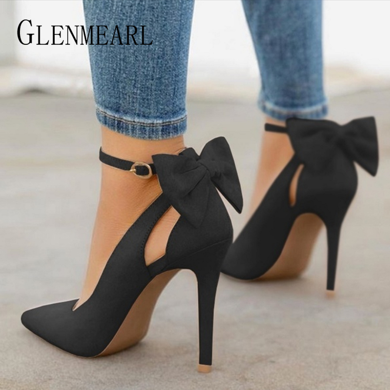 Women High Heels Brand Pumps Women Shoes Pointed Toe Buckle Strap Butterfly Summer Sexy Party Shoes Wedding Shoes Plus Size DE basic pump