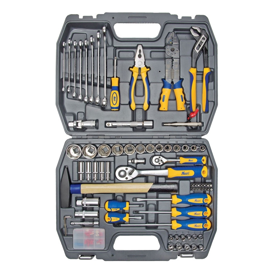 Set hand tool KRAFT CT 700307 (99 items, terminals, screwdriver, end head, bits, keys, adapters, case) цена в Москве и Питере