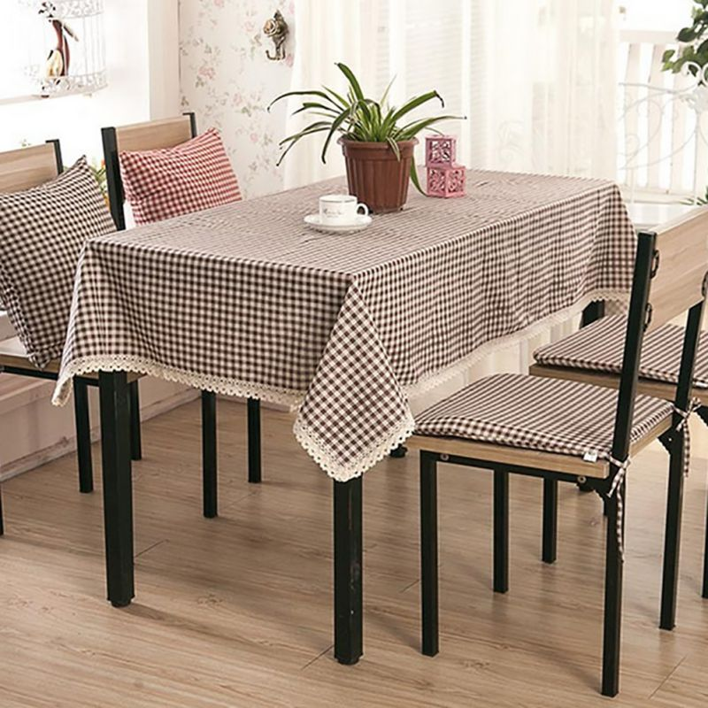 Tablecloth Plaid Brown Pink Table Cover Lace Edge Dining Cotton Linen ClothChina