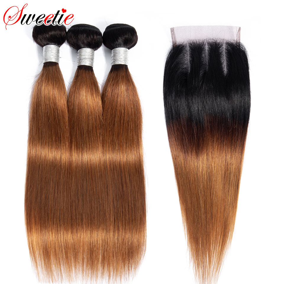 Sweetie Ombre Straight Hair Bundles With Closure Blonde Peruvian Remy Human Hair Weave Bundles 1b 30