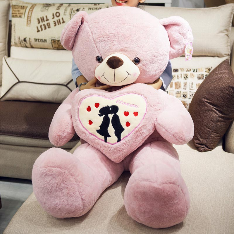 120cm big bear plush toys cute huge animal teddy bear hold heat soft doll girls toy pink birthday Christmas gift for girlfriend the lovely bow bear doll teddy bear hug bear plush toy doll birthday gift pink bear about 120cm