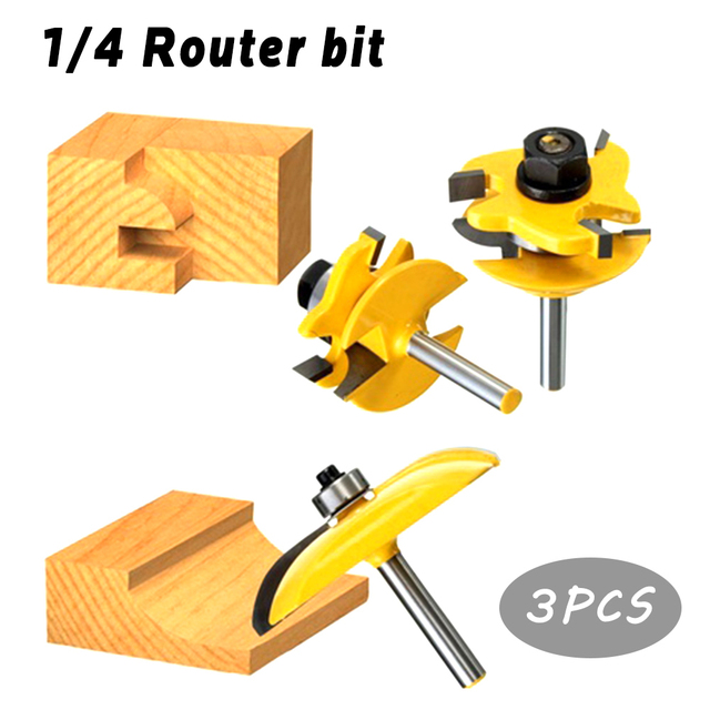 3pc 14 Round Shank Raised Panel Cabinet Door Router Bit Set 14
