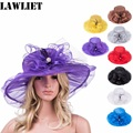 2017 New Design Flower Foldable Organza Brimmed Sun Hat Female Summer Hats for Women Outdoor Fashion Feather Rhinestone Sun Hat