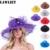 2017 Nuevo Diseño de La Flor De Organza Plegable Sol Femenina Sombrero de Verano Sombreros de Ala Ancha para Las Mujeres Pluma de La Manera Rhinestone Del Sombrero Del Sol Al Aire Libre