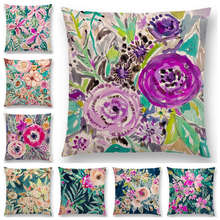 Hot Sale Beautiful Flowers Watercolor Art Paradise Flourish Floral Gardens Delight Colorful Cushion Cover Sofa Throw Pillow Case