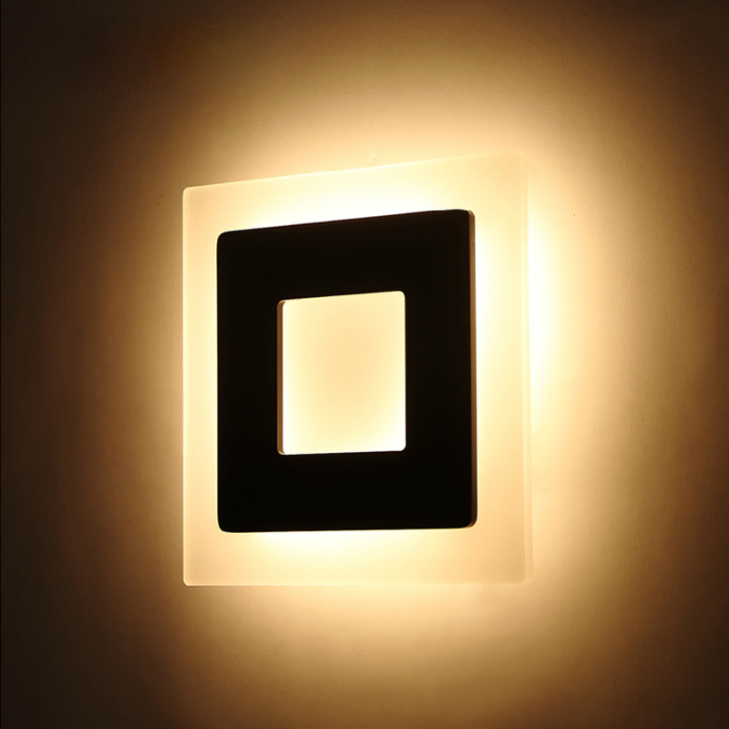 Modern Square Led Wall Lamp Livingroom Corridor Study Room Background Light Wall Lights Bedroom