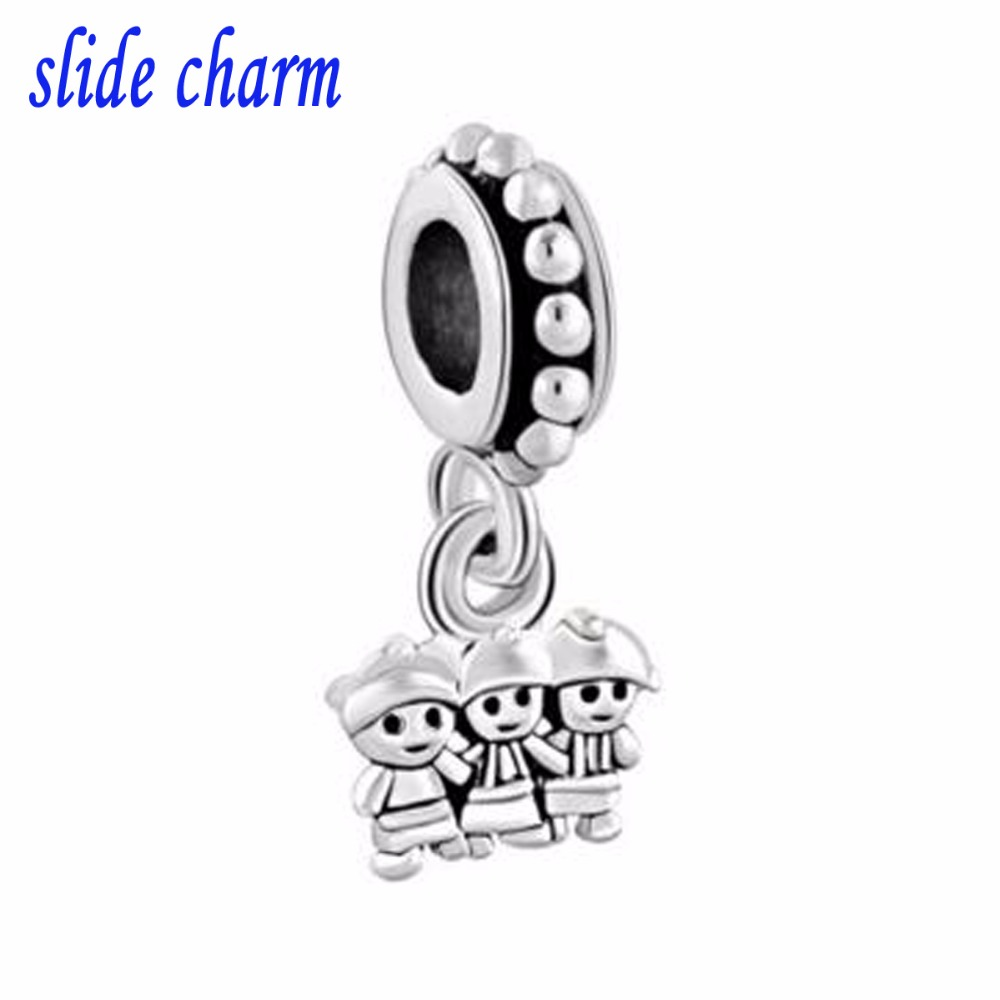 slide charm Free shipping Mothers Day the luxury brands drape sisters brother charm beads fit Pandora charm bracelet Christmas