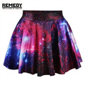 2016 Summer Style Pirate Punk Black Skirts Galaxy Short Dresses Digital Printing Attack Of The Unicorn Mini Skirt For Women
