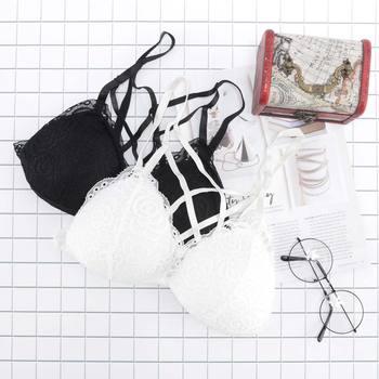 Sexy Sujetador de encaje de mujeres Floral Cruz frontal vendaje Bikini Sujetador de encaje sujetador sin hilos verano Lencería para fiestas sujetador
