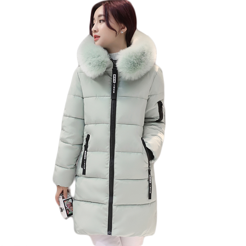 2018 Women Hooded Warm Winter Jackets Big Fur Collar Long   Parkas   Cotton Padded Jacket Female Womens Wadded Coat Plus Size D510