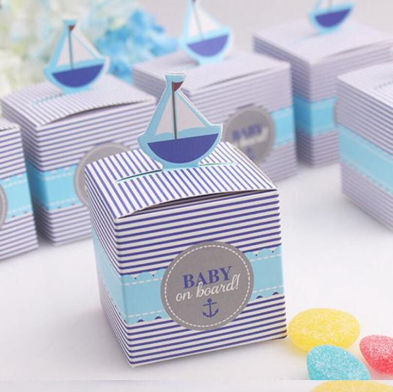 Wedding Favor Baby Shower Party Gift Supplies Baby On Board Pop-Up Sailboat Candy Boxes LX1562