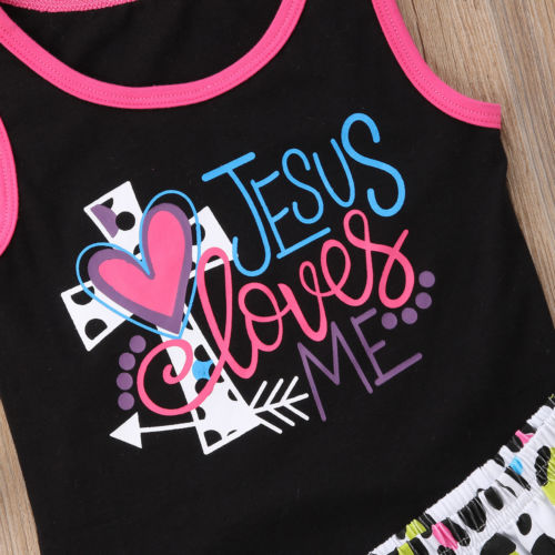 Toddler Kids Baby Girl Jesus Outfits Clothes T-shirt Tops+Leopard Pants/Shorts 2PCS Set