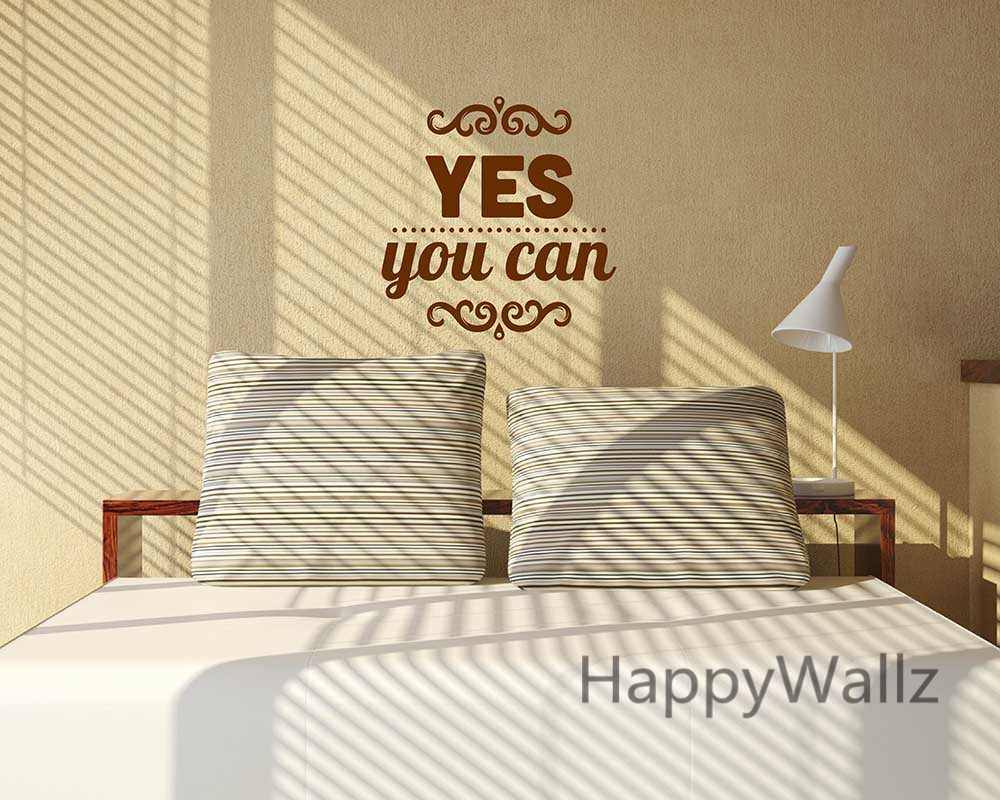 Yes You Can Motivational Quote Wall Sticker DIY Decorative ...