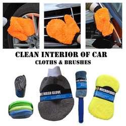9 шт. микрофибры автомойка Cleaning Kit включает полотенца из микрофибры Аппликатор колодки мыть губкой для мытья Перчатки колеса кисть