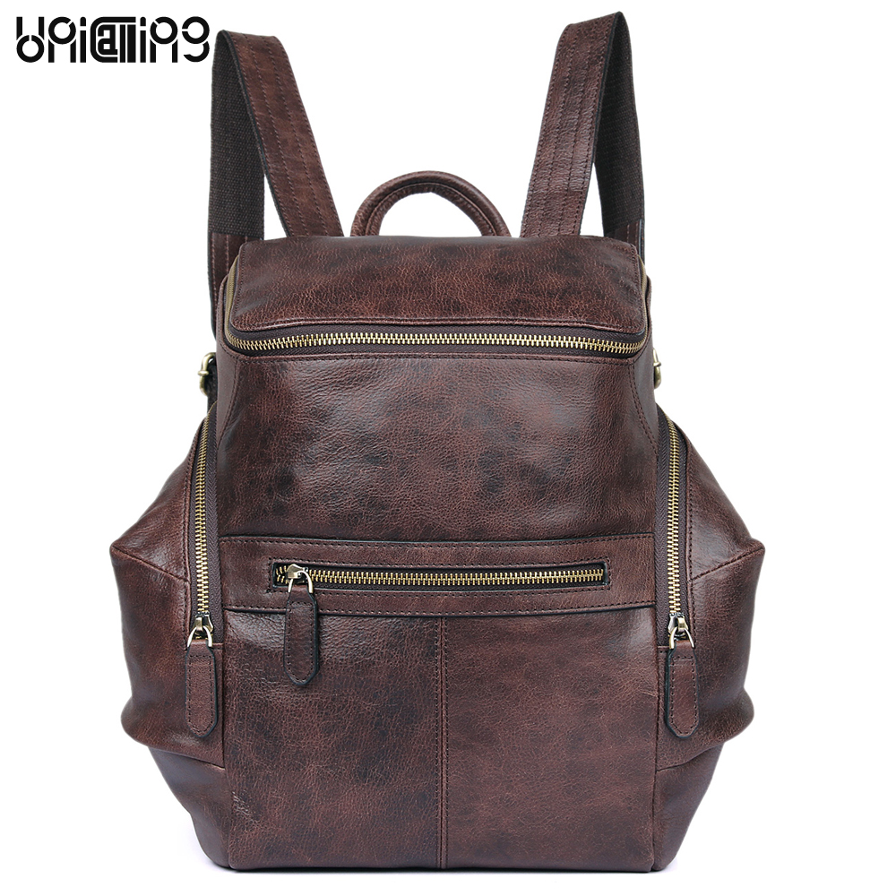 Fashion backpack women Large capacity Retro zipper Genuine Leather backpack solid color All-match cow leather female backpack zipit рюкзак zipper backpack