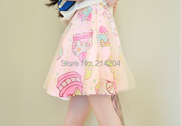 Women Miniskirt Japanese Harajuku Ice Cream Cake Candy Color Printed Gauze Double Layer Short Mini Skirt Falda