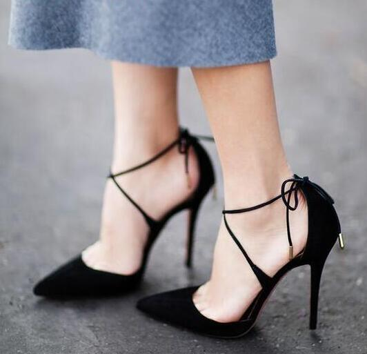 Fashion Orange Red Suede Leather Women Pointed Toe Pumps Ankle Lace Up Ladies High Heels Elegant Style Female Sexy Dress Shoes ladies western style sexy elegant ankle strap big size 4 to 15 soft suede genuine leather pointed toe shoes green white red