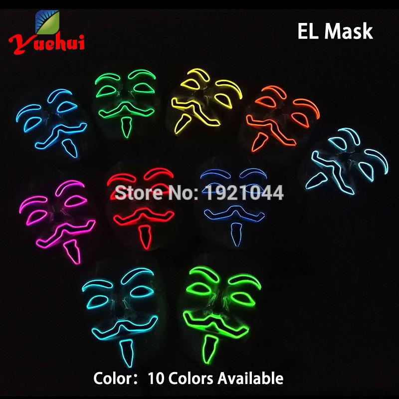 10 COLORES Elección NUEVA Fashion Flashing EL wire Vendetta mask - Para fiestas y celebraciones - foto 5