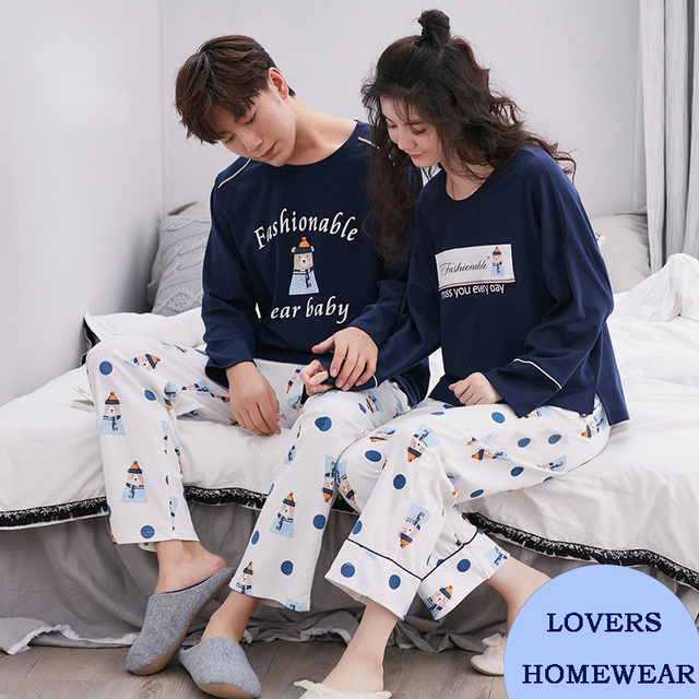 Spring And Autumn 100% Cotton Long-sleeve Pullover Loose Sleepwear Male Set Fashionable Casual Brief Lovers Lounge