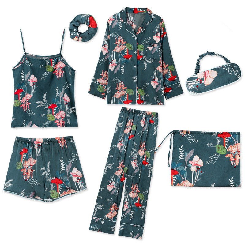 Sleepwear 7 Pieces Pyjama Set 2018 Women Autumn Winter Sexy Pajamas Sets Sleep Suits Soft Sweet Cute Nightwear Gift Home Clothes