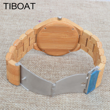 TIBOAT Luxury Watch Men Lines Drawing Gold Face Full Bamboo Wood Watch Women Fashion Casual Watch Wooden Watch With Box Gift