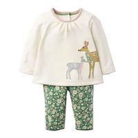 ערכות בגדי בנות עם אפליקציות בעלי החיים תינוק תלבושת סתיו ילדים בגדי בנות 2017 מותג Fille חלוק ילדי סט אימונית