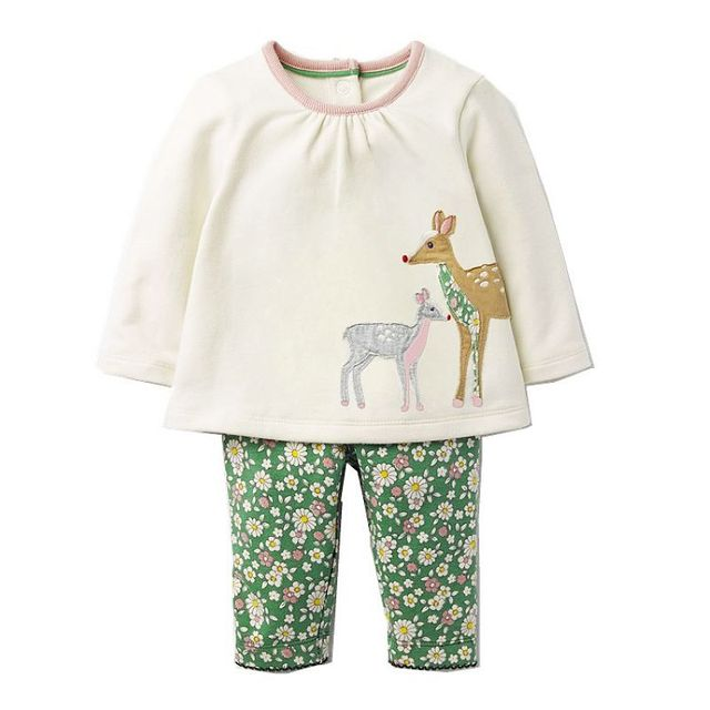 Baby Girls Clothing Sets with Animal Appliques 2017 Brand Autumn Kids Clothes Girls Outfit Robe Fille Children Set Tracksuit