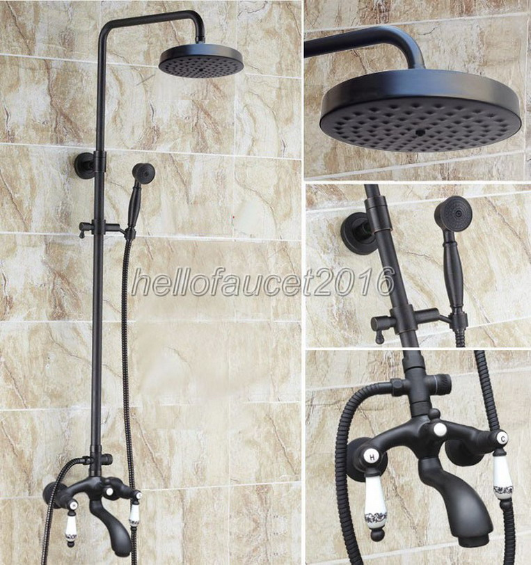 NEW Dual Ceramic Handle Rain Shower Faucet Set Black Oil Rubbed Brass  Bathroom Wall Mounted Cold