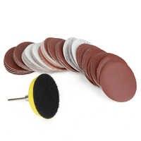 60 uds 100/240/600/800/1000/2000 juego de discos de lijado de arena 2 pulgadas 50mm + almohadilla de lijado en bucle con mango de 3mm para pulir Herramientas de limpieza