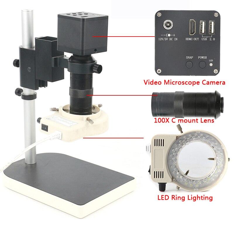 1080 p 4 k UHD 12MP Électronique Numérique Industrielle Microscope Vidéo Caméra 100X C monture UI Mesure Pour Montre laboratoire Téléphone pcb
