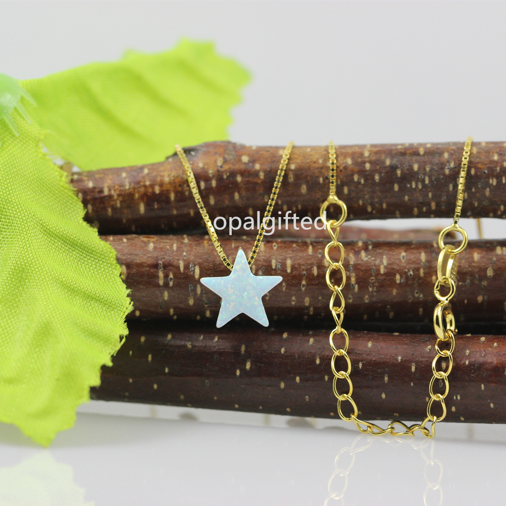 1pc Hot Summer White OP17 Gold Necklace Pendant Cute Star Opal Necklace For Women/girl High Quality 925 Sterling Silver Jewelry