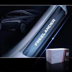 Uszczelka do drzwi samochodu płyta chroniąca przed zarysowaniem drzwi próg dla Land Rover Freelander samochodu naklejki z włókna węglowego winylu akcesoria samochodowe 4 sztuk w Naklejki samochodowe od Samochody i motocykle na