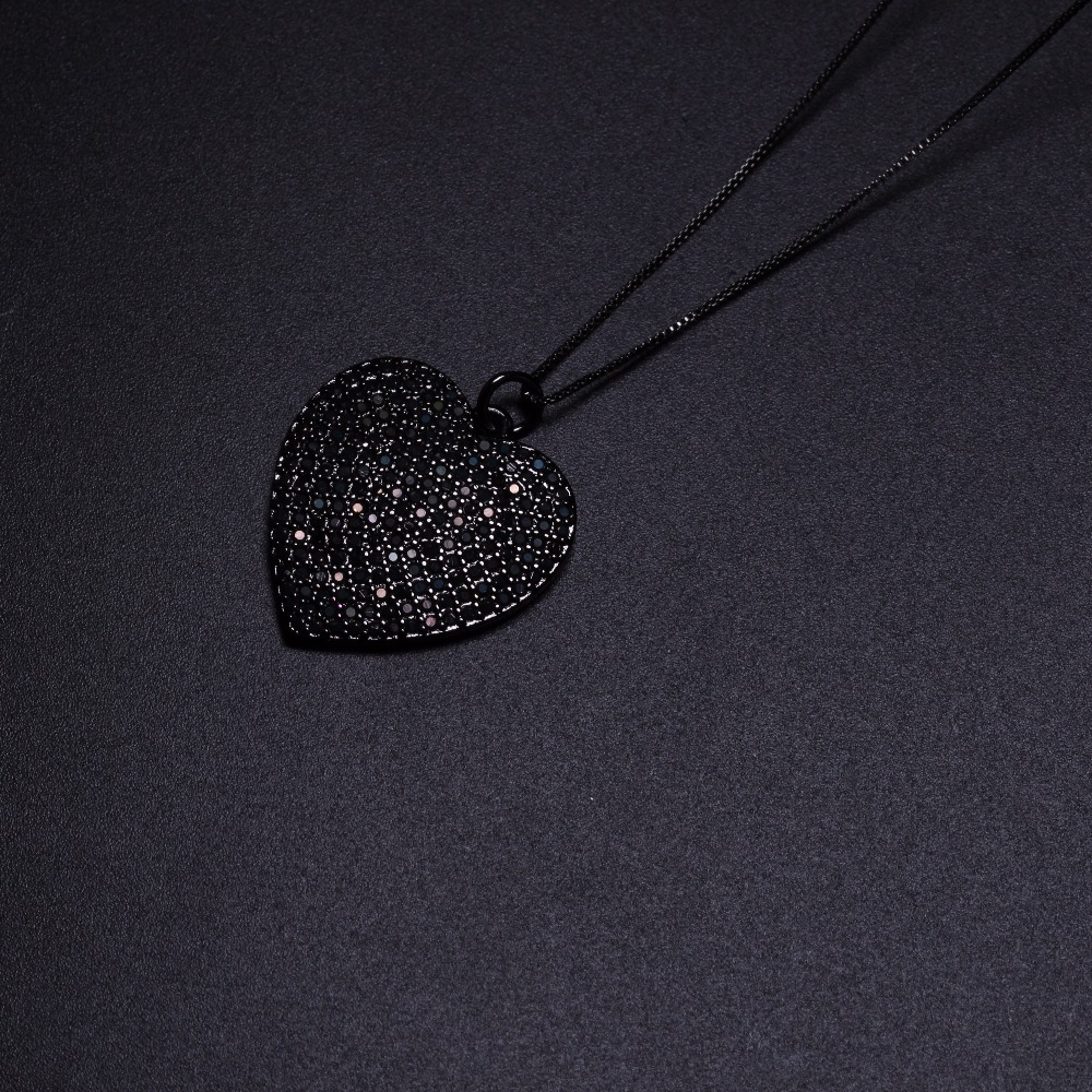 2018 Fashion New Design Black Heart Pendant Necklace For Women Gift PYL062 charming black lace crochet floral fuax crtstal heart pendant anklet for women