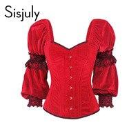 Sisjuly 1950s Vintage Corsets Women Red Lace Corsets Button Sexy Temptation V Neck Female Elegant Vintage