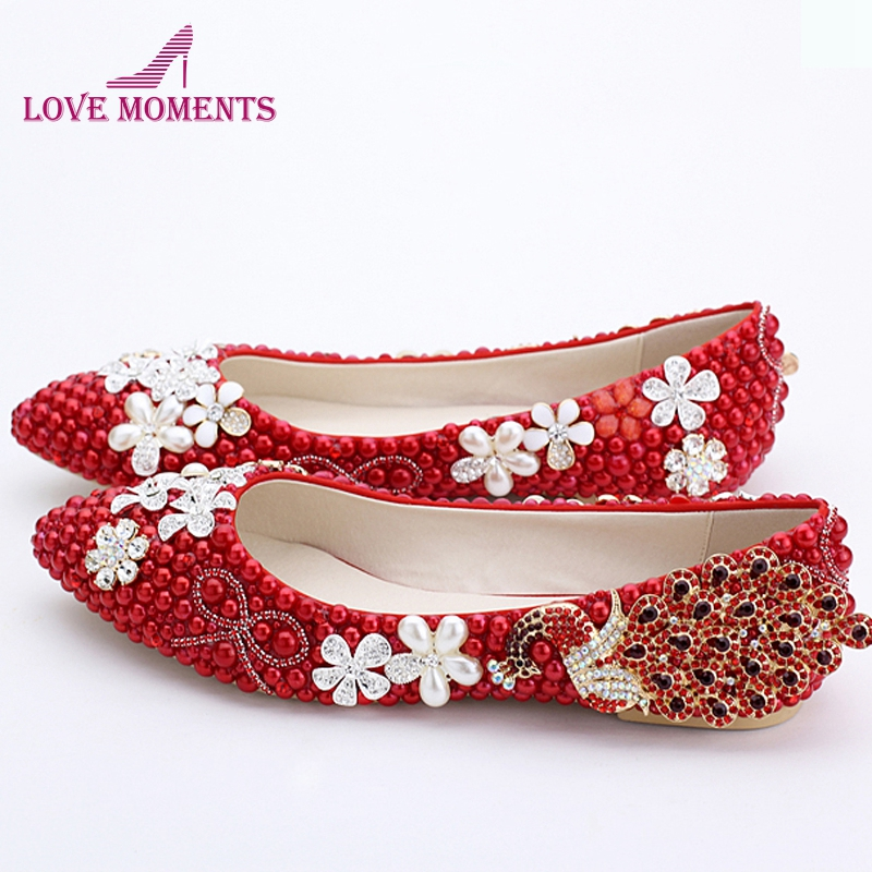 2018 Classic Women Wedding Shoes Red Pearl Flats Phoenix Rhinestone Bridesmaid Shoes Lady Spring Flat Heel Party Shoes Plus Size