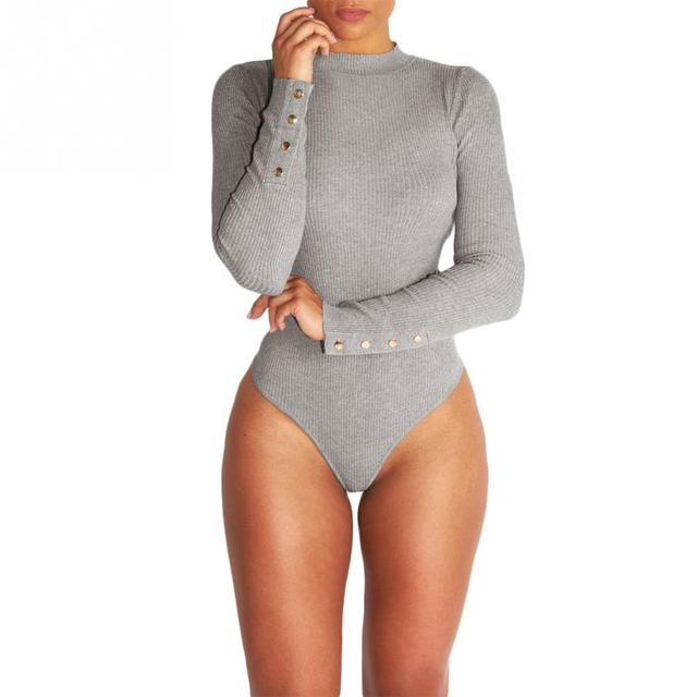 cea83f36182 Sexy Women Skintight Spring Autumn Long Sleeve Round Neck Knitted Jumpsuit  Charming female ladies Bodysuit dance Teddies