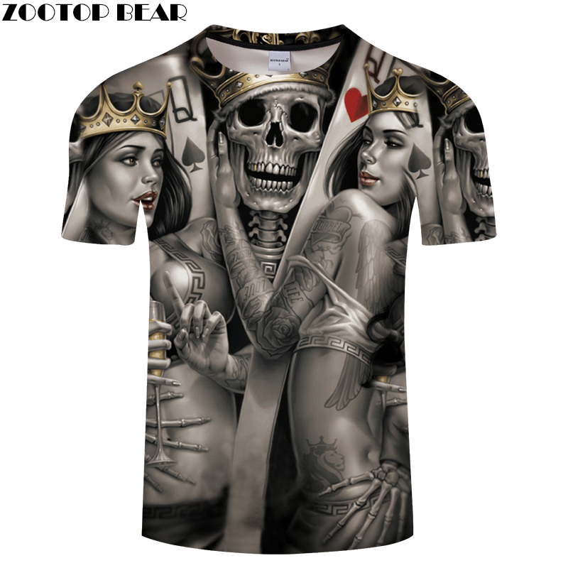 Beauty&Skull King 3D Print t shirt Men Women tshirt Summer Funny Short Sleeve O-neck Tops&Tees Streetwear Drop Ship ZOOTOP BEAR