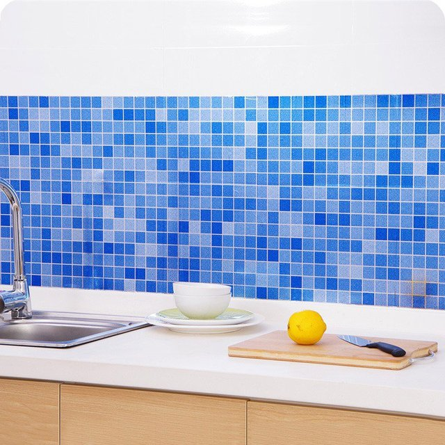 Waterproof Mosaic Aluminum Foil Self-adhesive Anti Oil Kitchen Wallpaper-Free Shipping For Kitchen