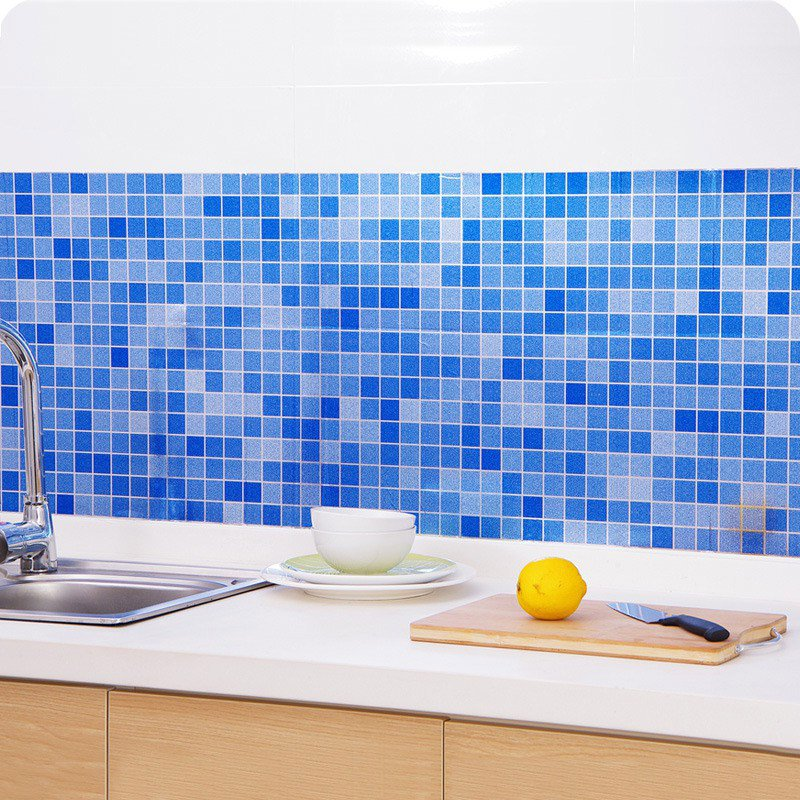45x200cm Waterproof Mosaic Aluminum Foil Self-adhensive Anti Oil Kitchen Wallpaper Heat Resistance Wall Sticker DIY Home Decor 1