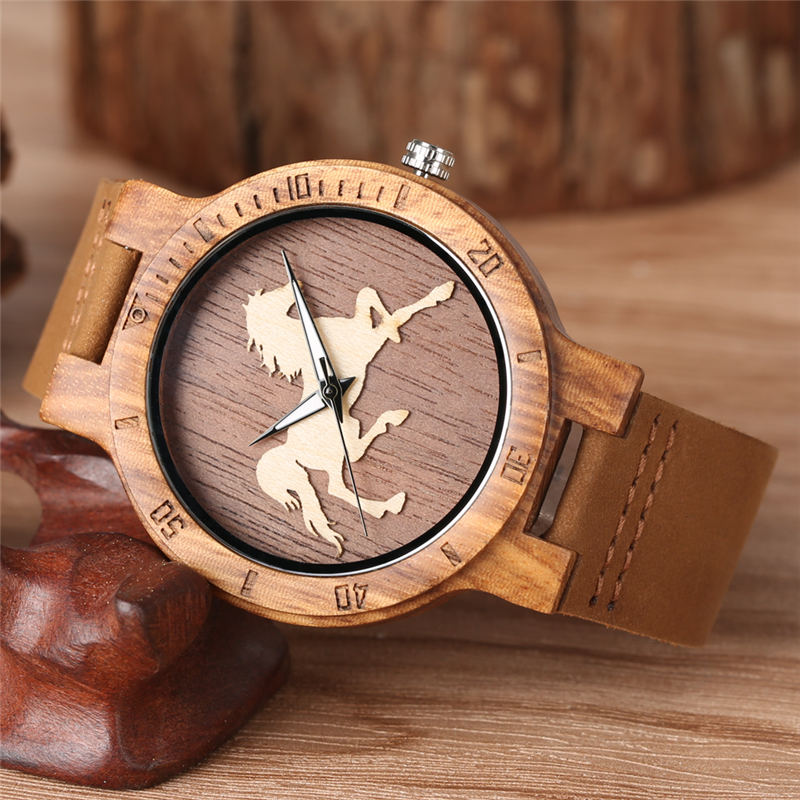 YISUYA Wood Watch Quartz Analog Runing Horse Dial Fashion Three dimensional Brown Genuine Leather Band Wooden Watches crrju in Quartz Watches from Watches