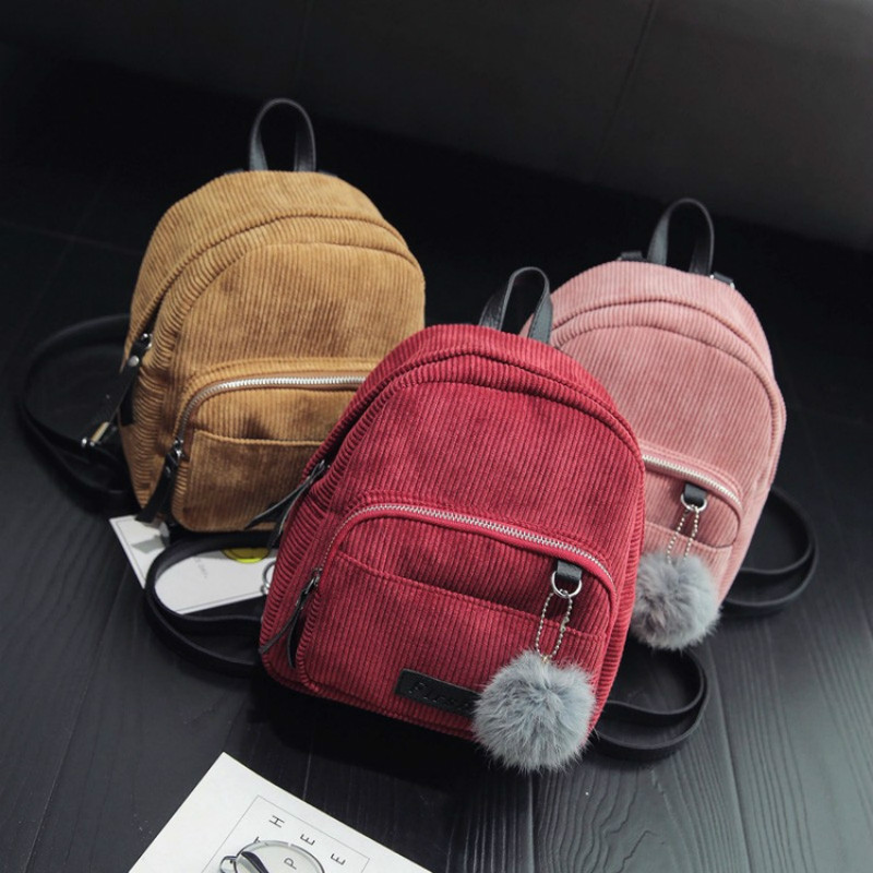 2017 korean mini corduroy female small backpack school girl fashion travel bag girls teenage Korean style fashion girl bag