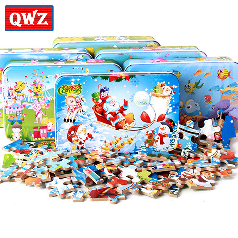 цена на 60pcs/set Wooden Puzzle Cartoon Toy 3D Wood Puzzle Iron Box Package Jigsaw Puzzle for Children Early Educational Montessori Toys