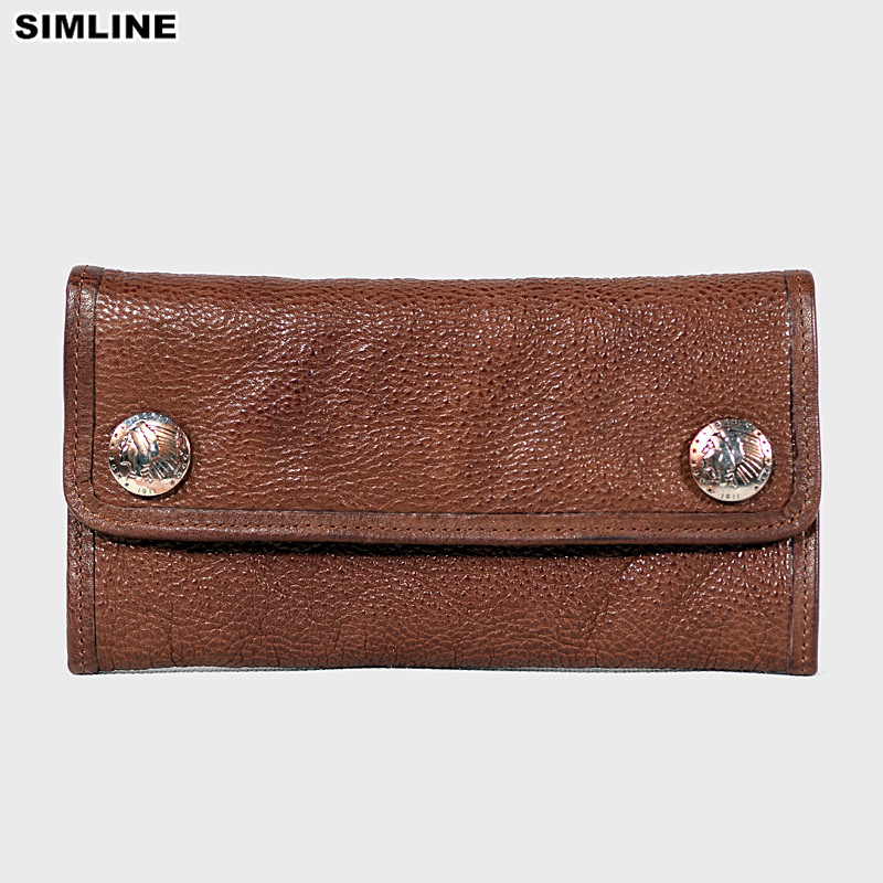 SIMLINE Genuine Leather Men Wallet Vintage Handmade Male Long Trifold Wallets Purse Card Holder Clutch Bag