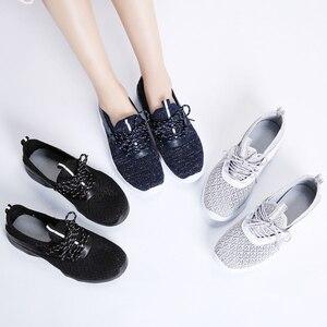 Image 5 - STQ 2020 סתיו נשים שטוח תחרה עד נעלי נשים לנשימה מזדמנים סניקרס נעלי גבירותיי שטוח נעלי נשים דירות 7728