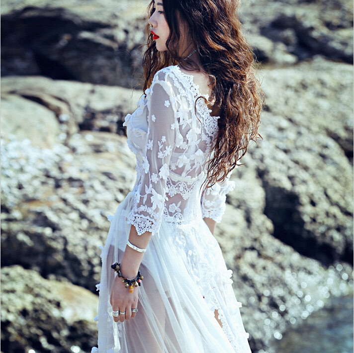 New Beach European Style Summer Womens Sexy Lace Embroidery Maxi Solid White Dress 3 4 Sleeve