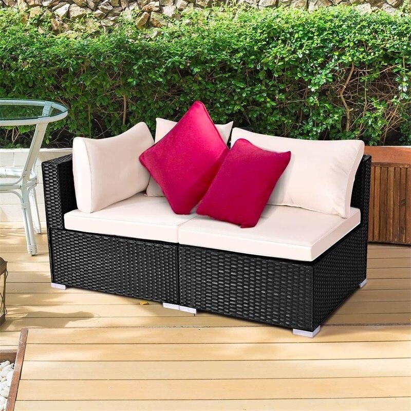 Ensemble de meubles en rotin pour Patio extérieur canapé d'angle + canapé sans bras salon moderne en acier massif robuste canapé Durable HW54492A